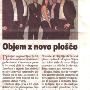 Casopis Dolenjske novice O skupini Objem