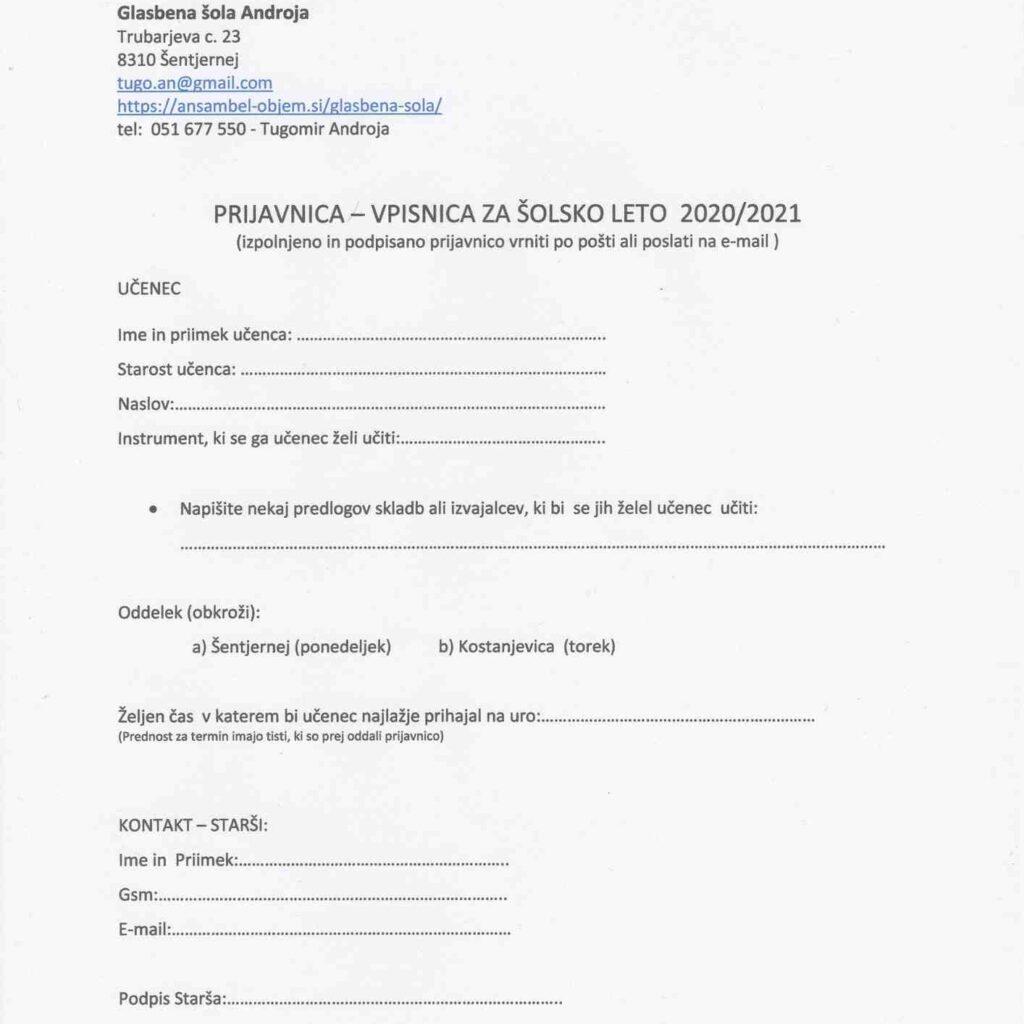 Vpisni list glasbena šola Androja